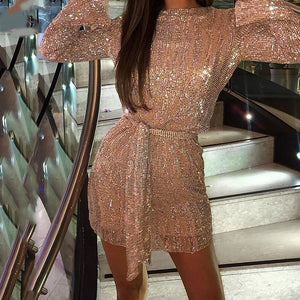 Fashion casual vintage sequined waist dress