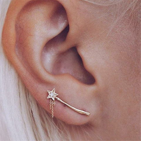 Women's Personality   Simple Diamond Star Earrings
