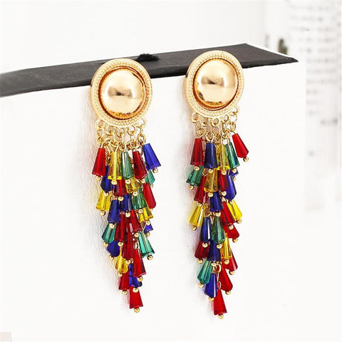 Bohemian long alloy tassel earrings