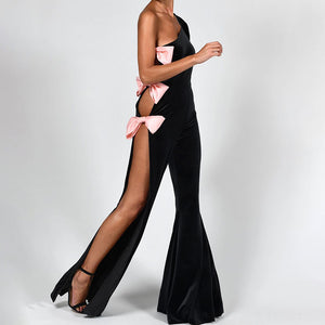 Womens Sweet and Sexy Split Asymmetric Off-Shoulder Jumpsuit