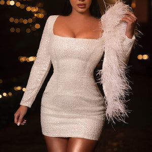 Fashionable square neck long sleeve dress