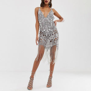 Sexy Jacquard Splicing Tassel Hollow Out Bare Back Dress