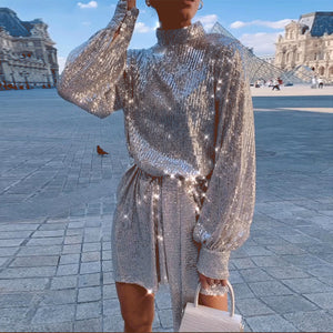 Fashion sequin shor high collar long lantern sleeves dress