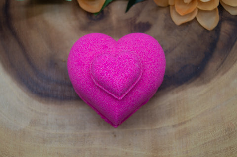 Heart Bath Bomb with Bath Butter Filling