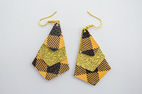 Yellow Plaid Earring #3