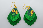 Green Sunflower Earrings #4