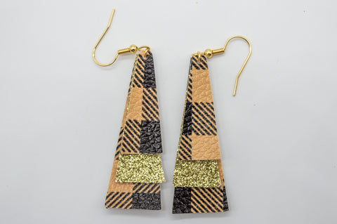 Yellow Plaid Earrings #6