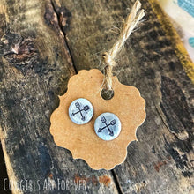Load image into Gallery viewer, Crossed Arrows | Hand Stamped Post Earrings