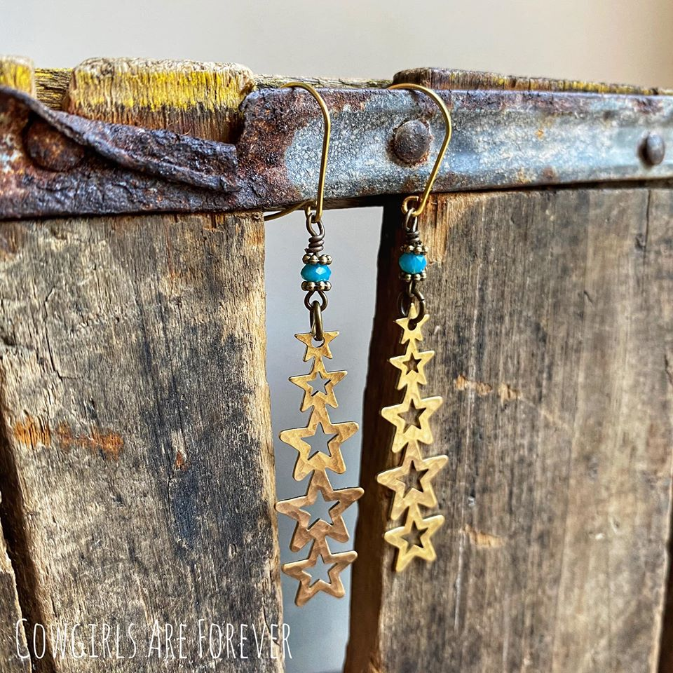 Star Path | Hammered Brass Star Earrings