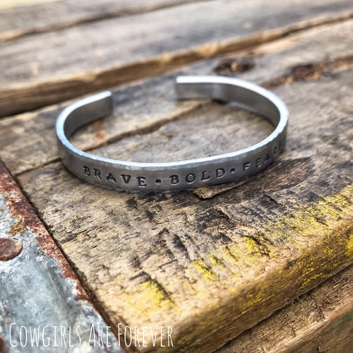 Brave • Bold • Fearless | Hand-stamped Cuff Bracelet