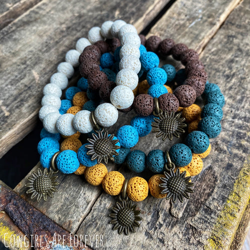 Autumn | Sunflower Charm Lava Bead Bracelets