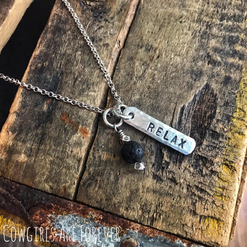 Relax | Hand Stamped Essential Oils Necklace