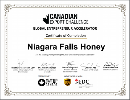 Niagara Falls Honey Certificate from Minister of International Trade Diversification Honourable Jim Carr