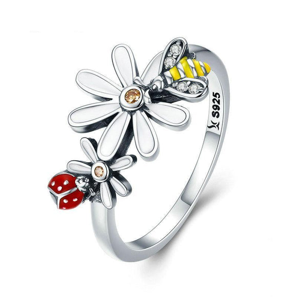 Sterling Silver Bee and Ladybug Ring
