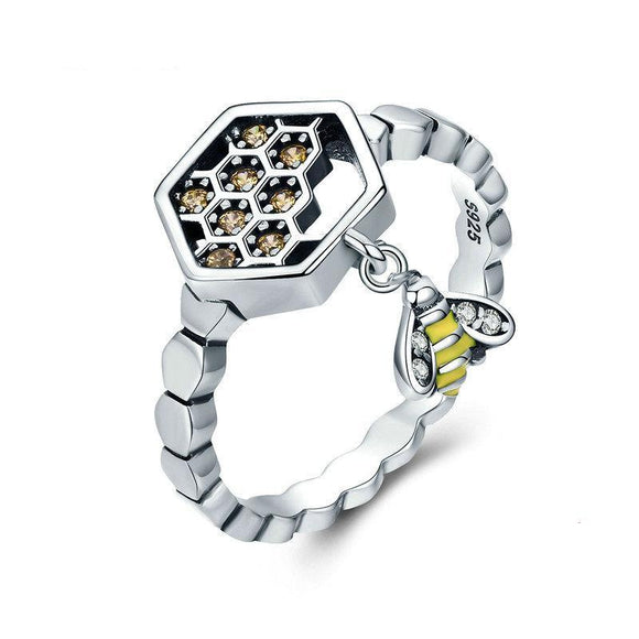 Sterling Silver Honeycomb Bee Ring