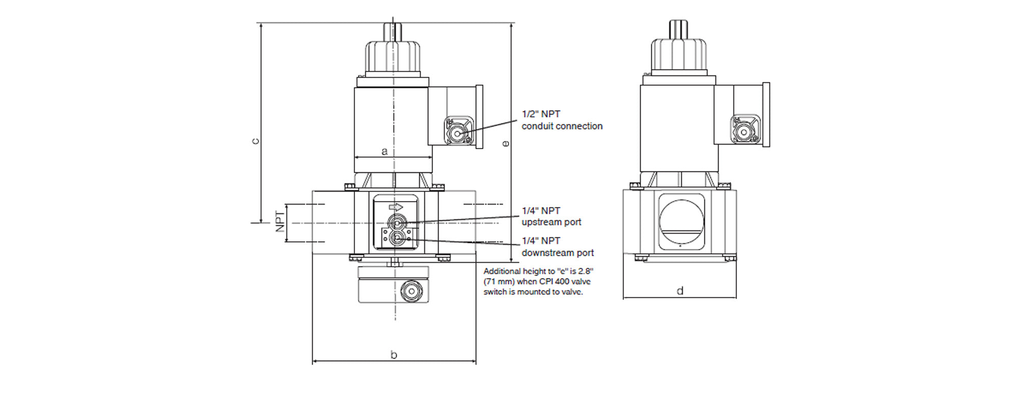 Dimensions For Gas Valve MVDLE215/5