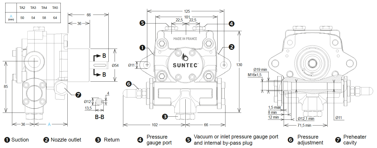 SUNTEC TA Series Pump Dimensions