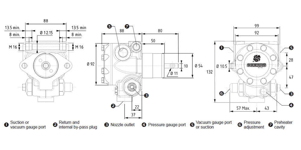 Suntec E 1069 Oil Pump Dimensions