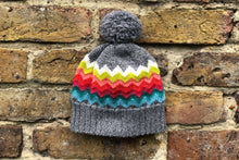 Load image into Gallery viewer, grey rainbow woolly hat
