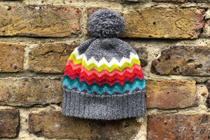 grey rainbow woolly hat