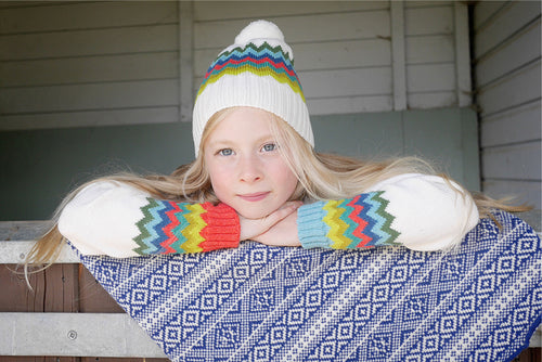 cream rainbow woolly hat