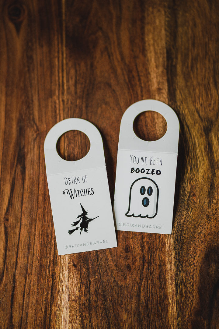 """You've Been Boozed"" and ""Drink Up Witches"" Tags"