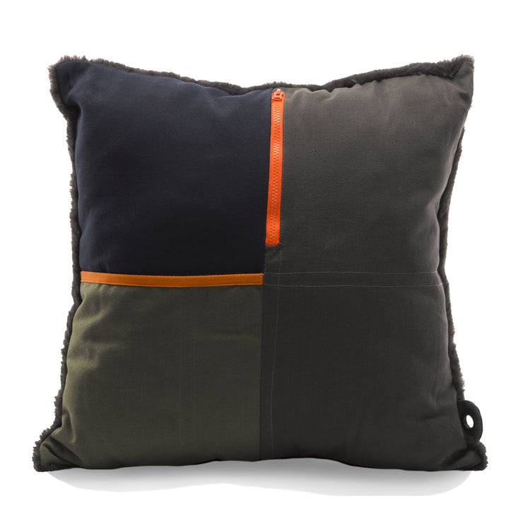 """Artist"" Decorative Throw Pillow with Pockets in Charcoal/Olive"