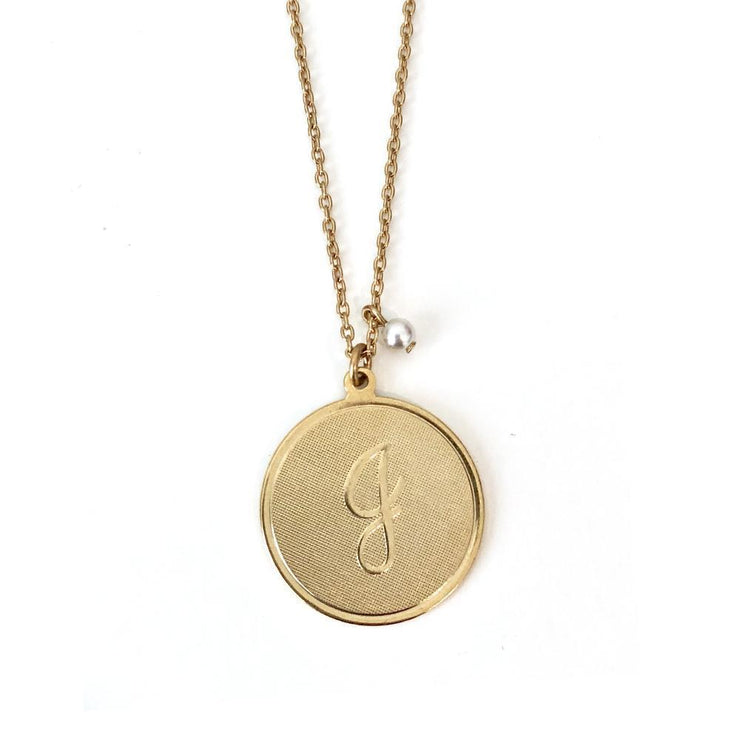 Large Signature Initial Necklace Gold