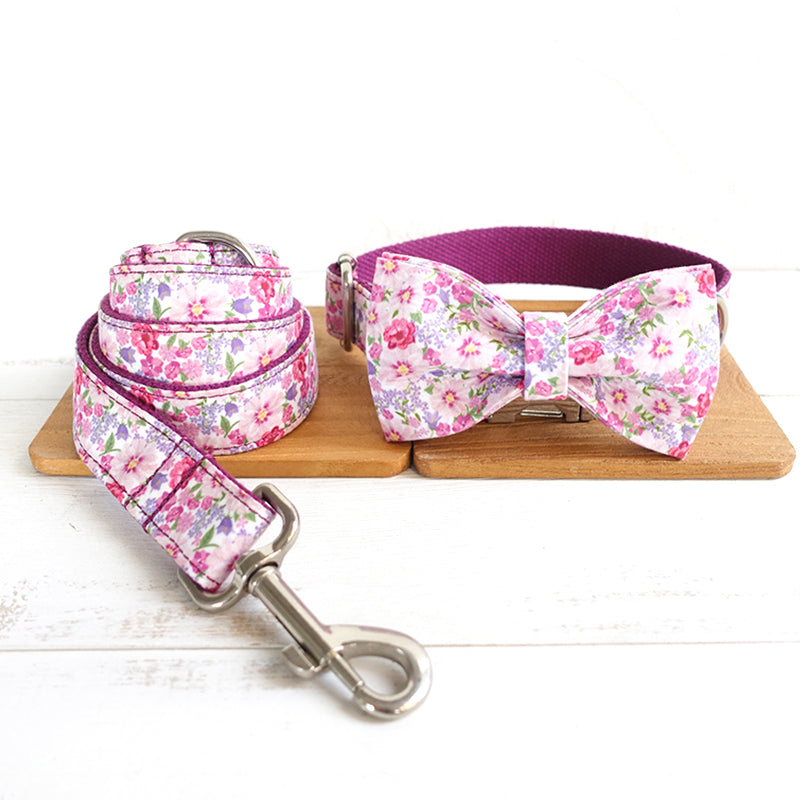 FLORAL IN PURPLE - Collar and Leash Set