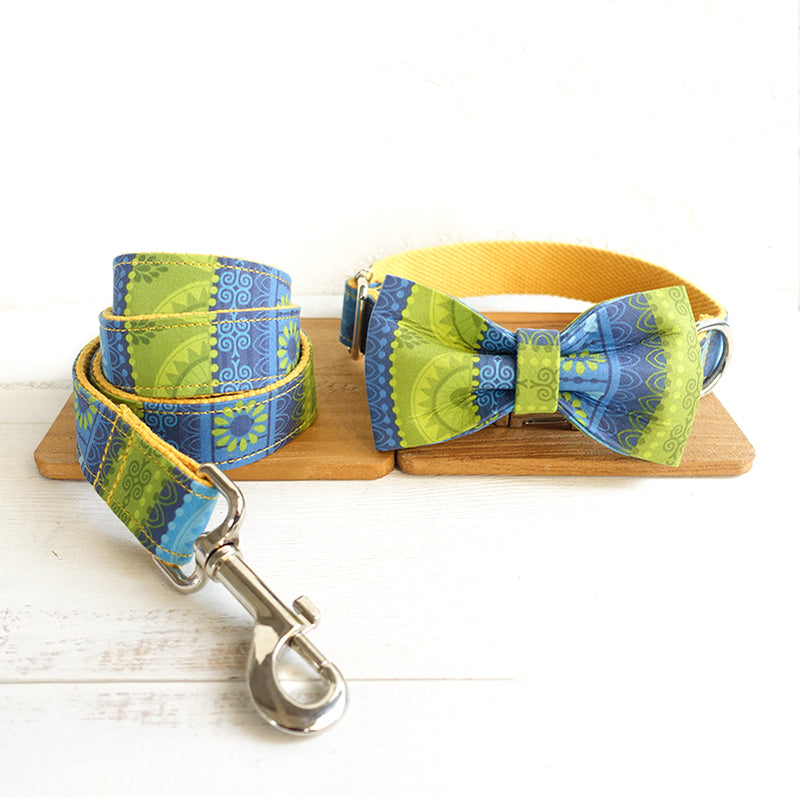 BLUE AND GREEN ETHNIC PATTERN - Collar and Leash Set