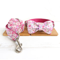FLORAL IN PINK - Collar and Leash Set