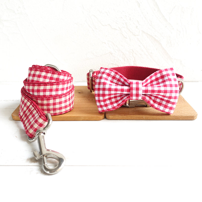 RED TABLE PLAID - Collar and Leash Set