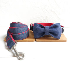 BLUE JEAN AND RED - Collar and Leash Set