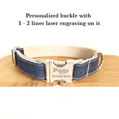 BLUE JEAN AND WHITE - Collar and Leash Set