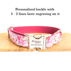 FLORAL IN PINK - Personalized Dog Collar