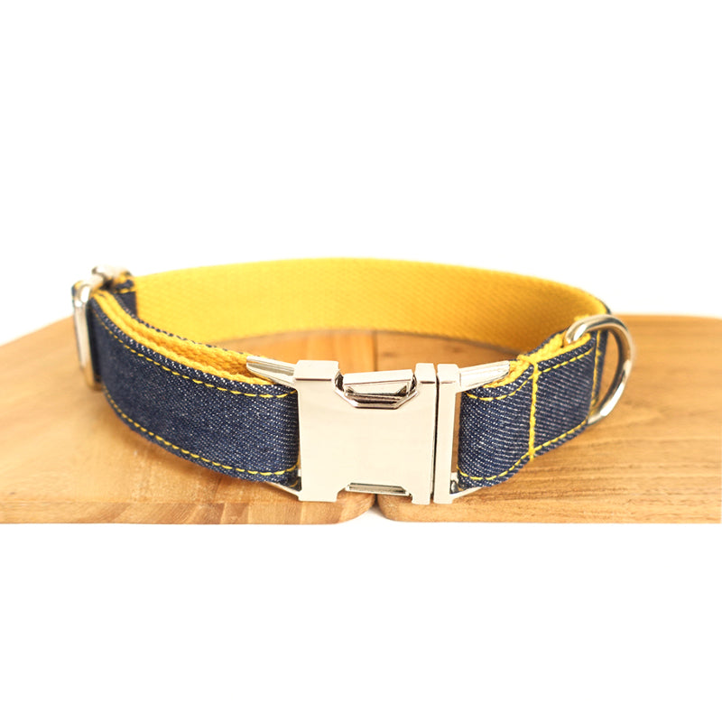 BLUE JEAN AND YELLOW - Personalized Dog Collar