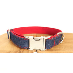 BLUE JEAN AND RED - Personalized Dog Collar