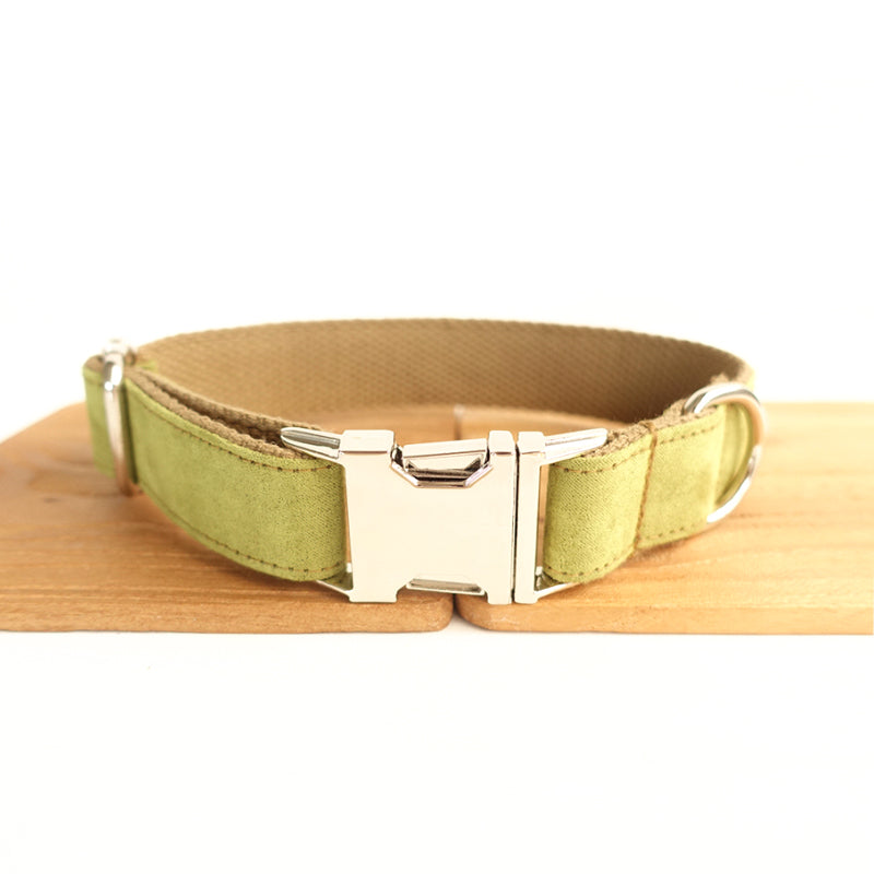 LIGHT GREEN AND BROWN - Personalized Dog Collar