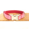 RED TABLE PLAID - Personalized Dog Collar