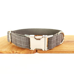 CHECKS GRAY - Collar and Leash Set