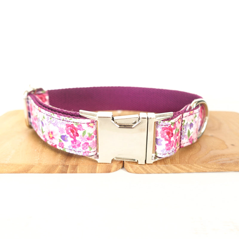 FLORAL IN PURPLE - Personalized Dog Collar