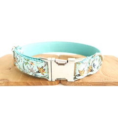 FLORAL IN BLUE - Personalized Dog Collar