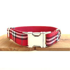 RED CHECKED - Collar and Leash Set
