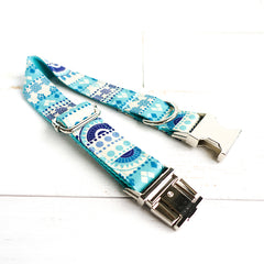 LIGHT BLUE ETHNIC PATTERN - Personalized Dog Collar