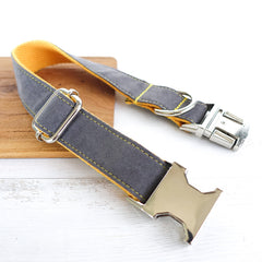 GRAY AND YELLOW - Personalized Dog Collar