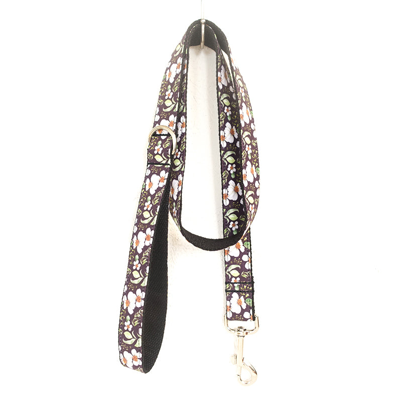 WHITE SUNFLOWERS II - Personalized Dog Leash