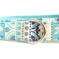 LIGHT BLUE ETHNIC PATTERN - Personalized Dog Leash
