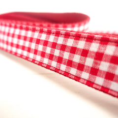 RED TABLE PLAID - Personalized Dog Leash