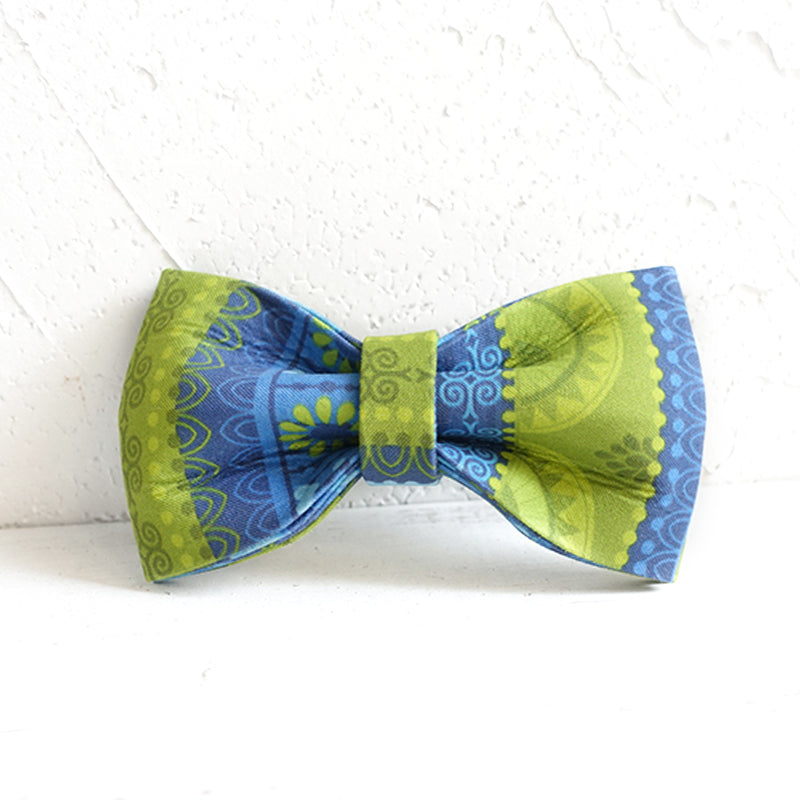 BLUE AND GREEN ETHNIC PATTERN - Handmade Dog Bow Tie