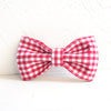 RED TABLE PLAID - Handmade Dog Bow Tie